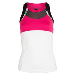 Women`s Footloose Tennis Tank White and Fuchsia