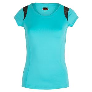 Women`s Footloose Cap Sleeve Tennis Top Aqua