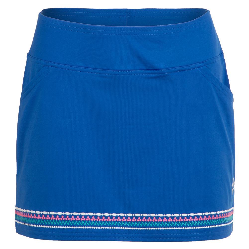 Women's Embroidered Tennis Skort Nautical Blue