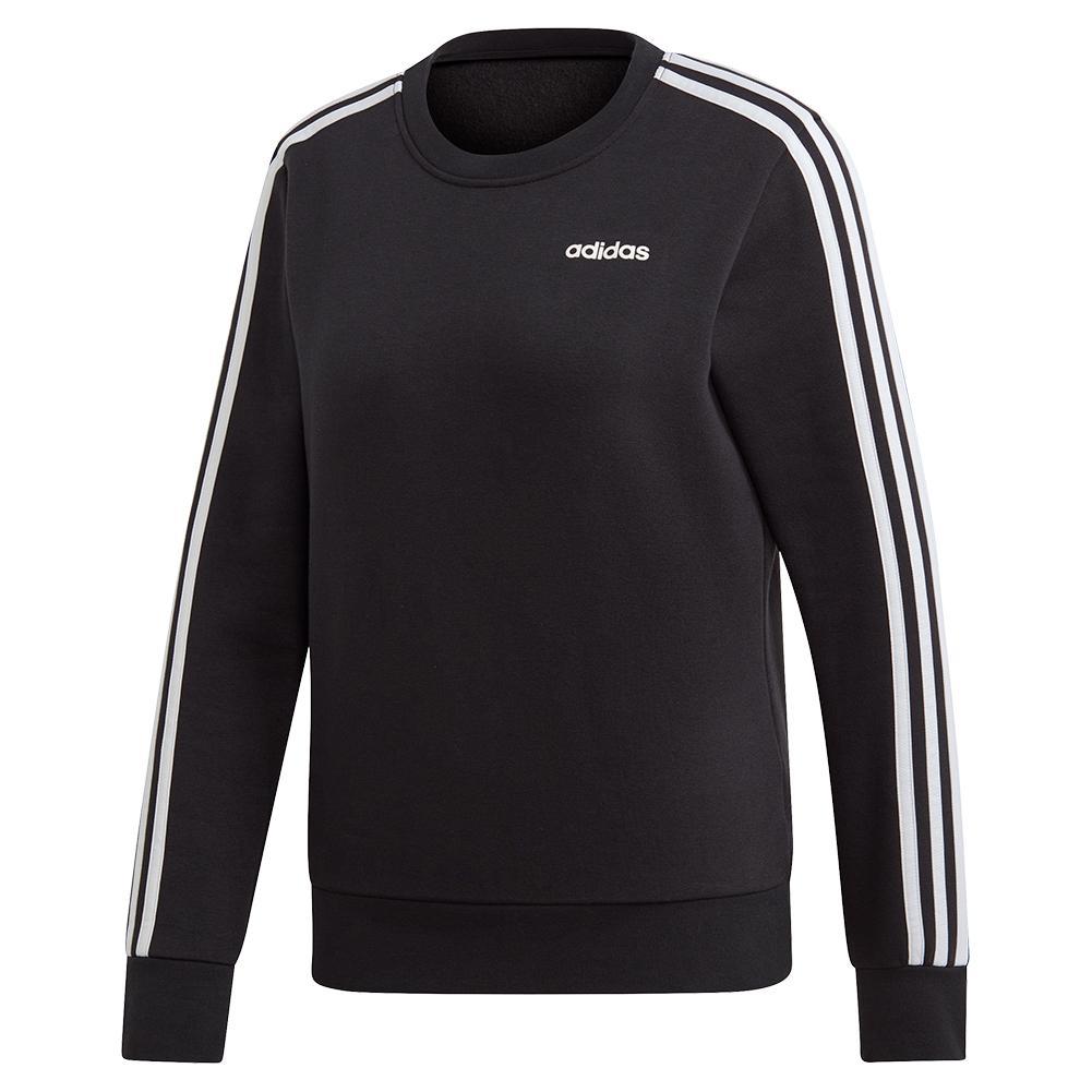 Women's Essentials 3- Stripes Fleece Sweater Black And White
