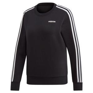 Women`s Essentials 3-Stripes Fleece Sweater Black and White