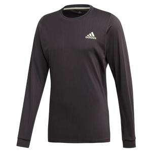 Men`s NY Long Sleeve Tennis Top Carbon and Glow Green
