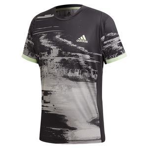 Men`s NY Printed Tennis Top Black and Grey Three
