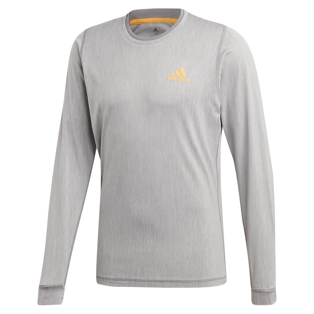 Men's Ny Long Sleeve Tennis Top Grey Three And Flash Orange