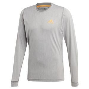 Men`s NY Long Sleeve Tennis Top Grey Three and Flash Orange