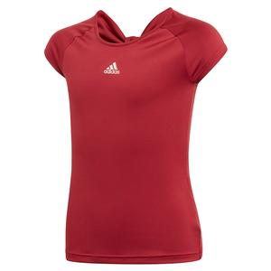 Girls` Ribbon Tennis Top Collegiate Burgundy