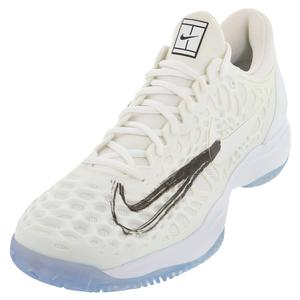 Men`s Zoom Cage 3 Tennis Shoes White and Metallic Summit