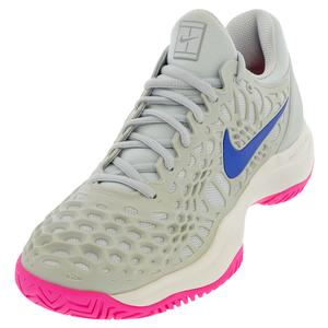 Women`s Zoom Cage 3 Tennis Shoes Pure Platinum and Racer Blue
