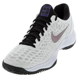 Women`s Zoom Cage 3 Tennis Shoes White and Bright Violet