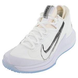 Men`s Court Air Zoom Zero Tennis Shoes White and Metallic Summit