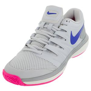 Women`s Air Zoom Prestige Tennis Shoes Pure Platinum and Racer Blue