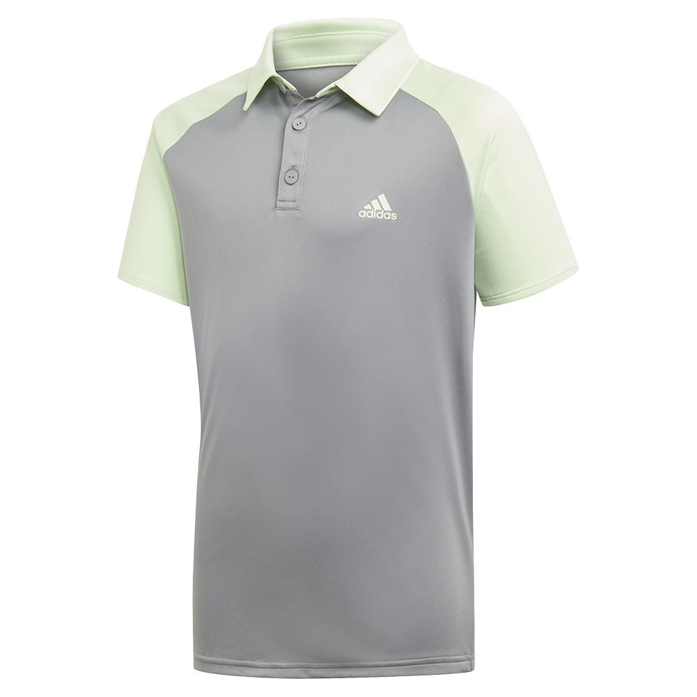 Boys ` Club Tennis Polo Glow Green And Grey Three
