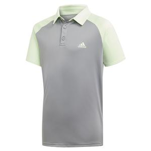 Boys` Club Tennis Polo Glow Green and Grey Three