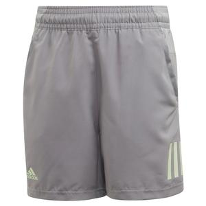 Boys` Club 3 Stripes 5 Inch Tennis Short Grey Three and Glow Green