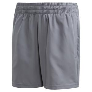 Boys` Club 5 Inch Tennis Short Grey Three and Glow Green