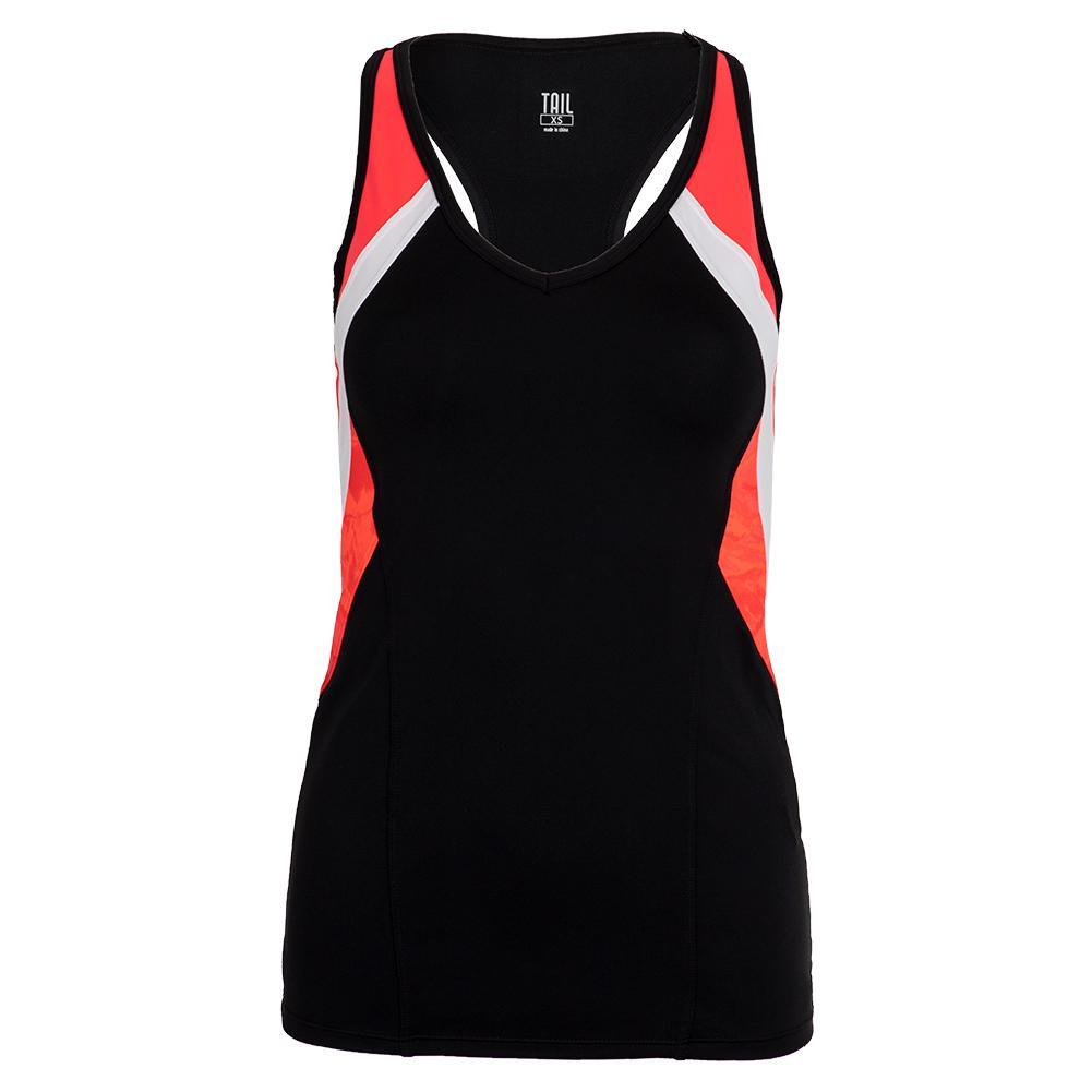 Women's Itzel Racerback Tennis Tank Black And Popsicle