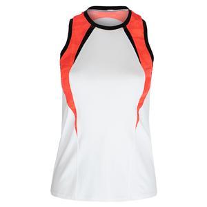 Women`s Jasmin Racerback Tennis Tank White and Set in Stone