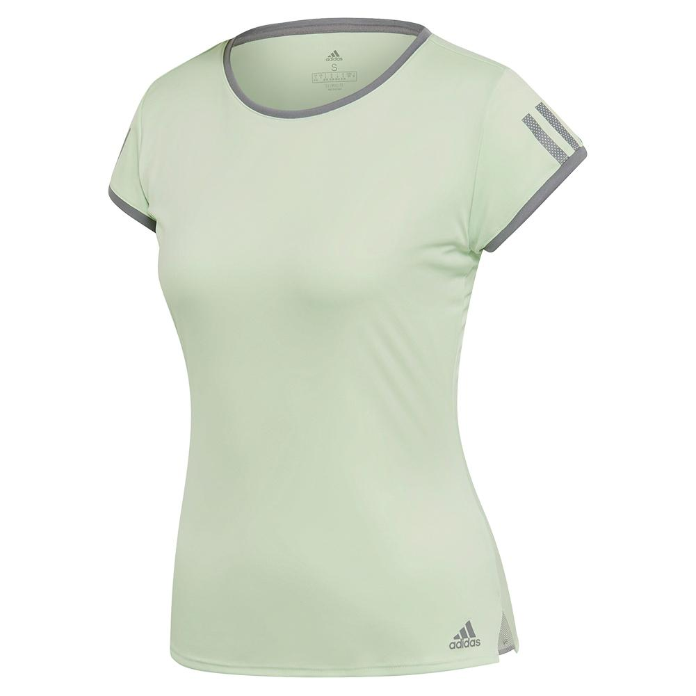 d5a9c8e2467 Adidas Women's Club 3 Stripes Tennis Top in Glow Green