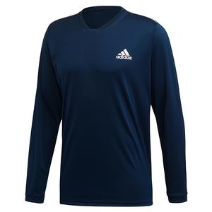 Men`s Club UV Protect Long Sleeve Tennis Top Collegiate Navy and White