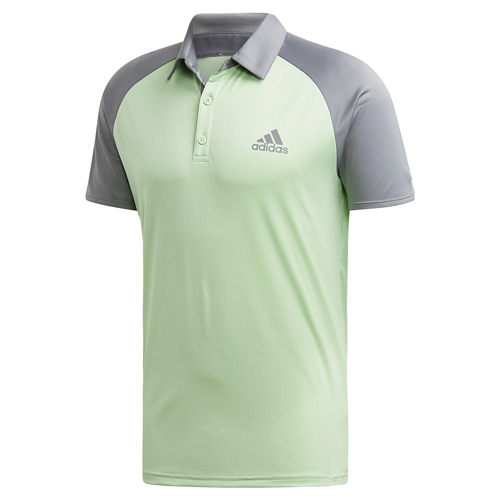 Men's Club Color- Block Tennis Polo Glow Green And Grey Three