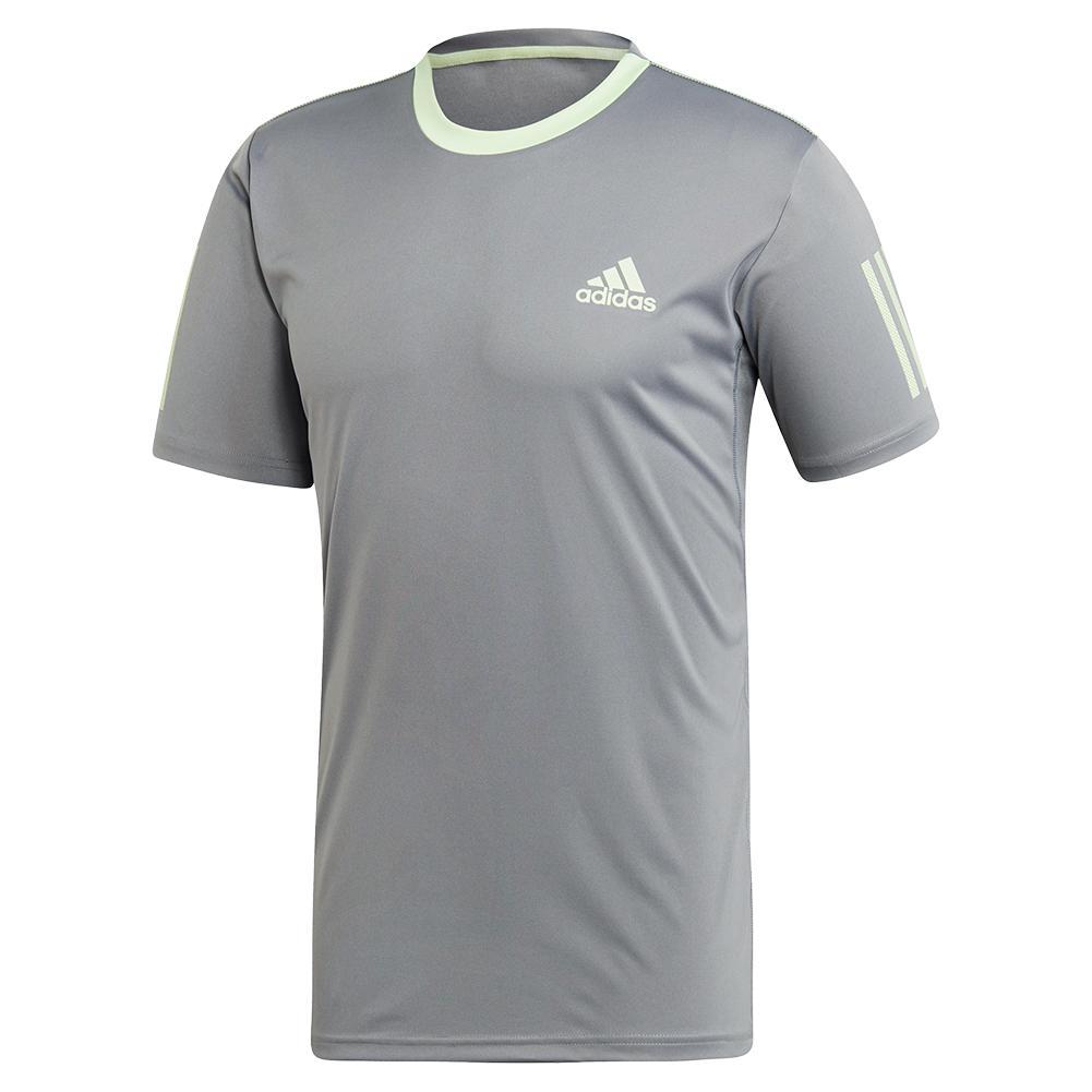 c38a24ec3 adidas Men`s Club 3 Stripes Tennis Top Grey Three and Glow Green ...