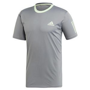 Men`s Club 3 Stripes Tennis Top Grey Three and Glow Green