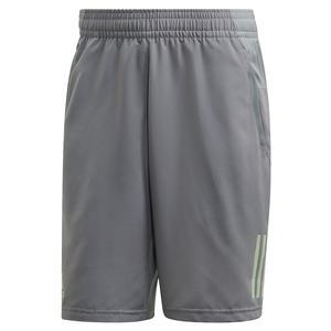 Men`s Club 3 Stripes 9 Inch Tennis Short Grey Three and Glow Green
