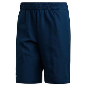 Men`s Club 9 Inch Tennis Short Collegiate Navy and White