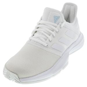 Women`s GameCourt Tennis Shoes White and Blue Tint