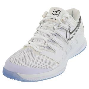Men`s Air Zoom Vapor X Tennis Shoes White and Metallic Summit