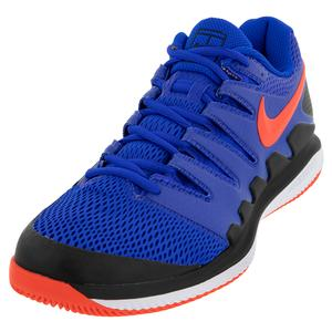 Men`s Air Zoom Vapor X Tennis Shoes Racer Blue and Bright Crimson