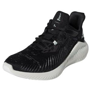 Juniors` Alphabounce+ Parley Running Shoes Core Black and Linen Green
