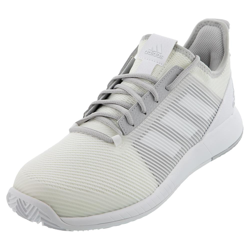 Men's Adizero Defiant Bounce 2 Tennis Shoes White And Solid Gray