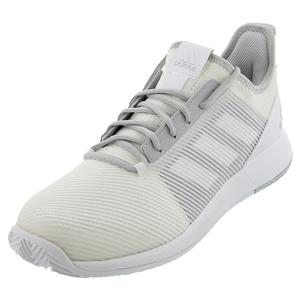 Men`s Adizero Defiant Bounce 2 Tennis Shoes White and Solid Gray