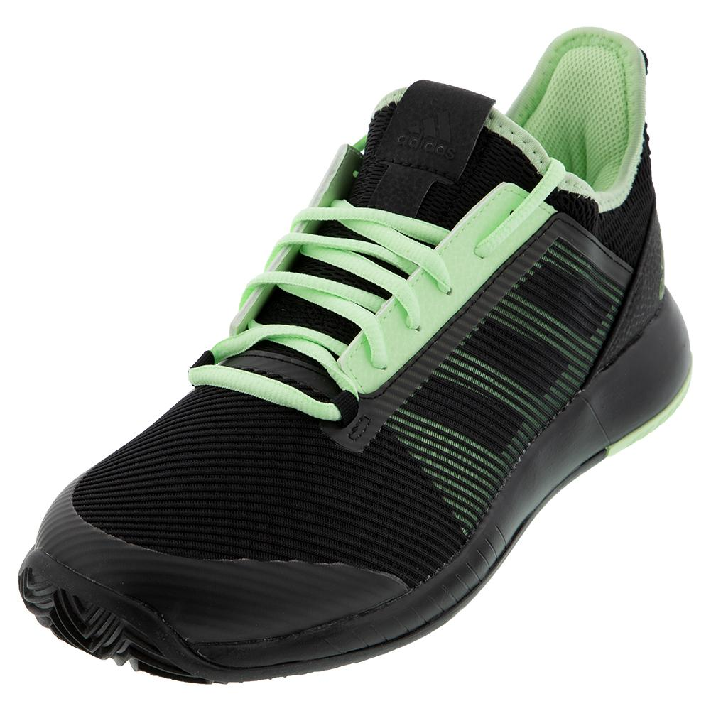 Women's Adizero Defiant Bounce 2 Tennis Shoes Core Black And Glow Green