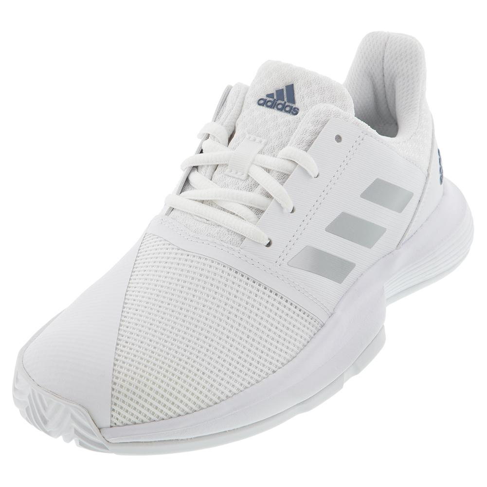 Juniors ` Courtjam Xj Tennis Shoes White And Silver Metallic