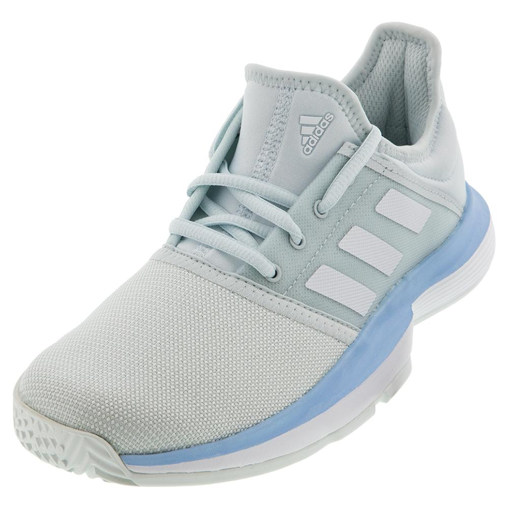 Juniors'solecourt Tennis Shoes Blue Tint And White