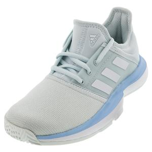 Juniors` SoleCourt Tennis Shoes Blue Tint and White