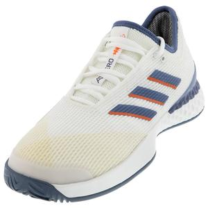 Men`s Adizero Ubersonic 3 Tennis Shoes White and Tech Ink