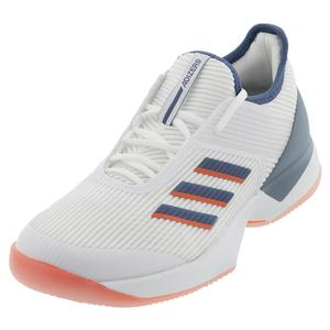 Women`s Adizero Ubersonic 3 Tennis Shoes White and Tech Ink