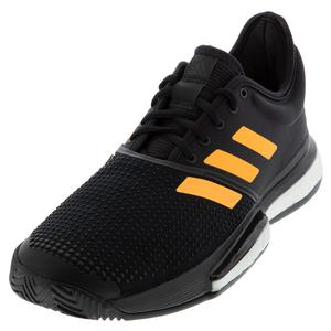 Men`s SoleCourt Boost Tennis Shoes Core Black and Flash Orange
