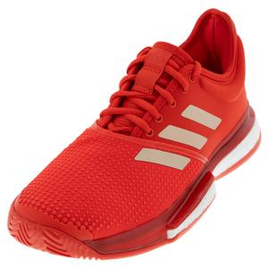 Women`s SoleCourt Boost Tennis Shoes Active Red and Soft Powder