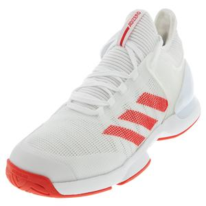 Men`s Adizero Ubersonic 2 Tennis Shoes White and Active Red
