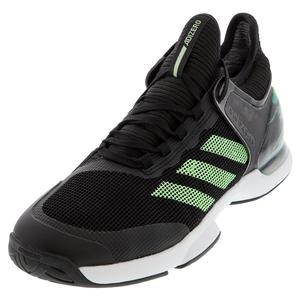 Men`s Adizero Ubersonic 2 Tennis Shoes Black and Glow Green