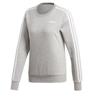 Women`s Essentials 3-Stripes Fleece Sweater Medium Grey Heather and White