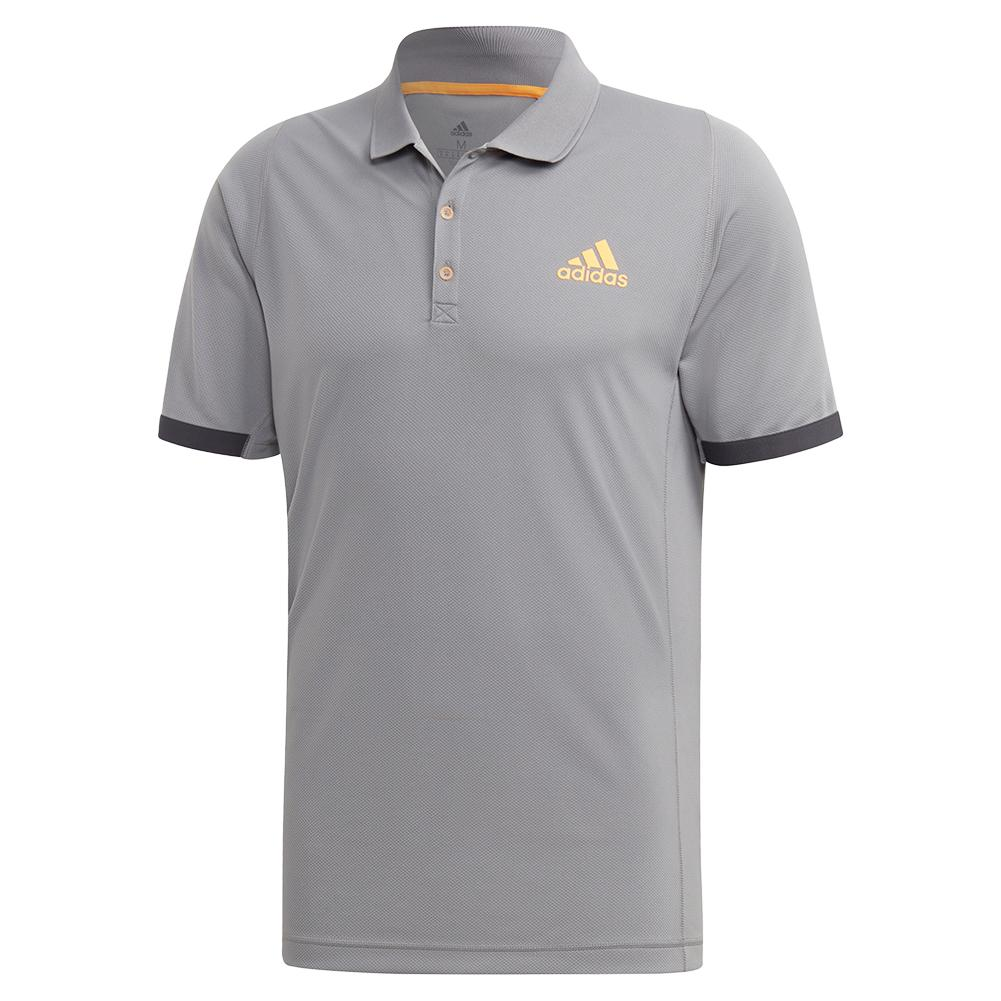 Men's Ny Tennis Polo Grey Three And Flash Orange