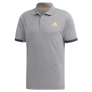 Men`s NY Tennis Polo Grey Three and Flash Orange
