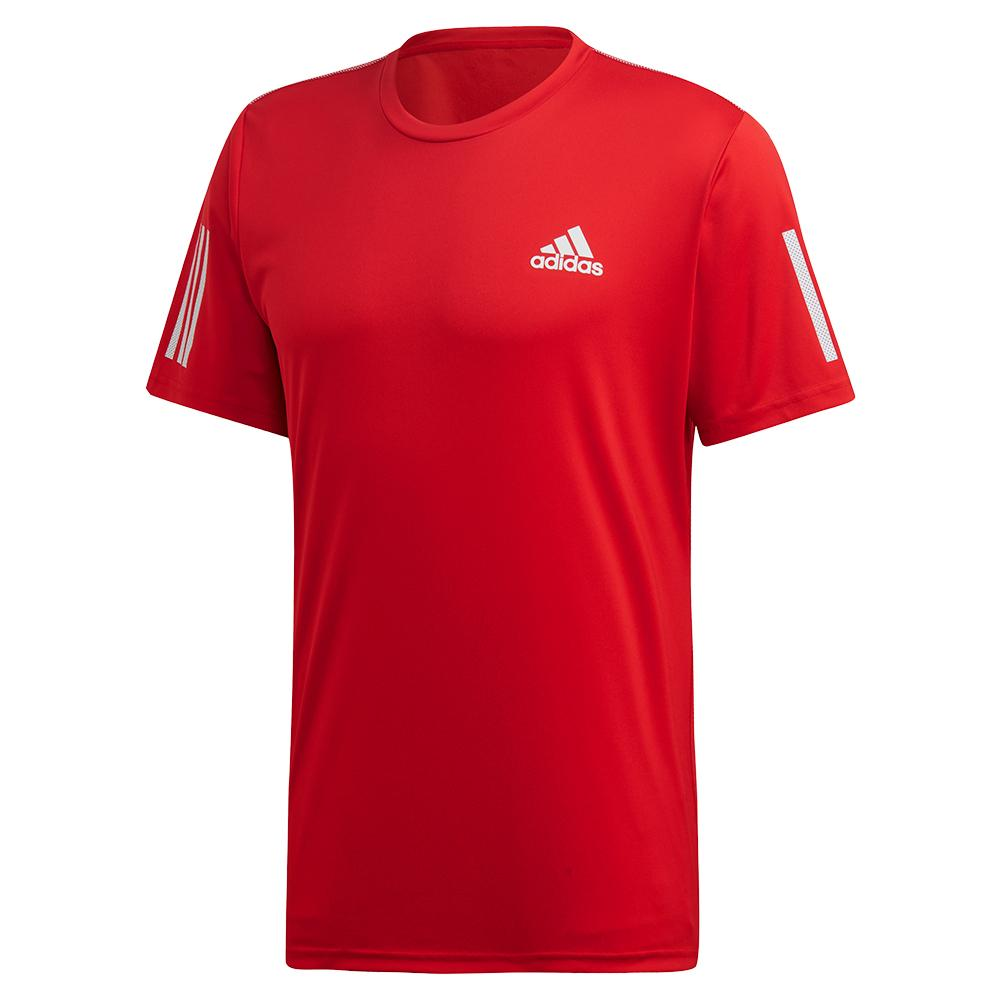 Men's Club 3 Stripes Tennis Top Scarlet