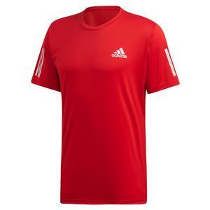 Men`s Club 3 Stripes Tennis Top Scarlet