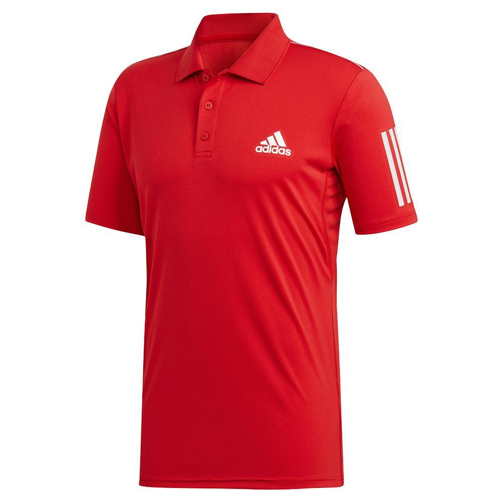 Men's Club 3 Stripes Tennis Polo Scarlet